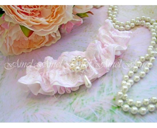 """Подвязка невесты  """"Розовый жемчуг"""""""