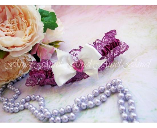 """Подвязка """"Марсала"""" с розовым сердцем"""