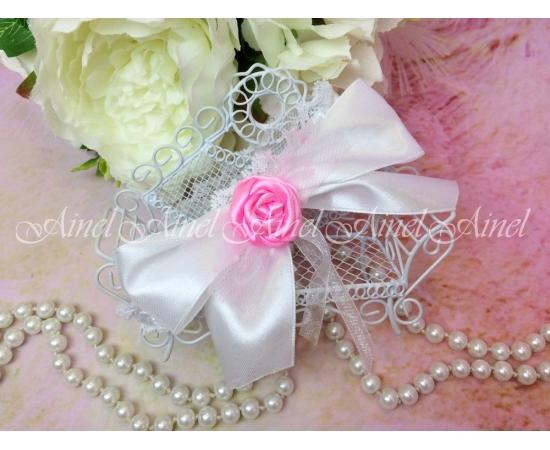 Браслет Белый для подружки невесты с яркой розой