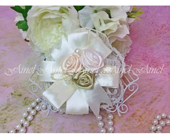 Браслет Айвори с розами и жемчугом