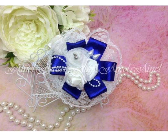 Браслет Бело-синий с розами