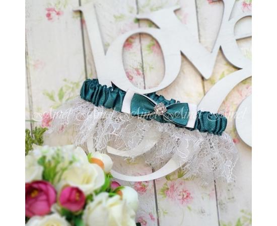 """Подвязка свадебная на ногу невесты """"Марго"""" темно-зеленая"""