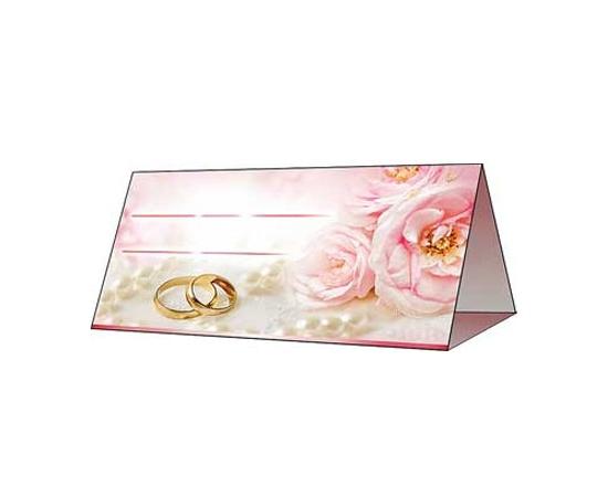 Рассадочные карточки Розовые пионы и кольца