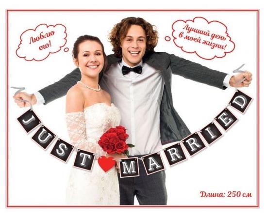 "Гирлянда свадебная на ленте ""Just Married"" 250см"