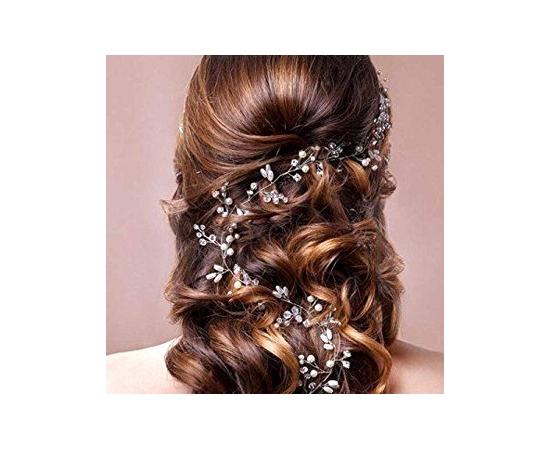 Свадебное  украшение для прически  Жемчуг, кристаллы 60см
