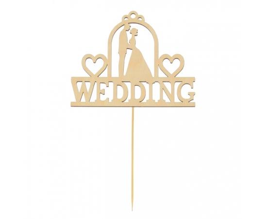 """Топпер деревянный """"Wedding"""" для свадебного торта"""