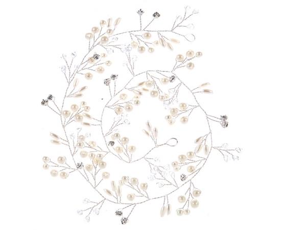 Гибкое украшение для невесты  Жемчуг, стразы 50см