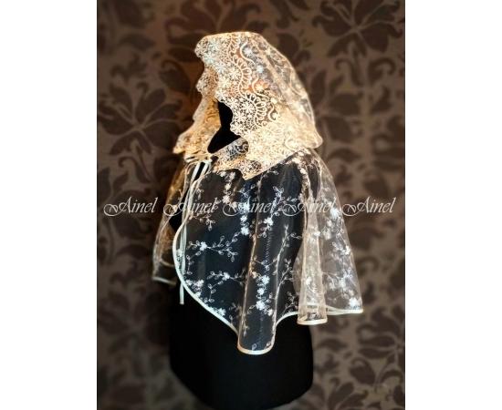 Венчальный платок с капюшоном айвори