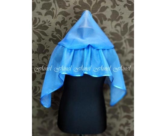 Платок с капюшоном в храм голубой