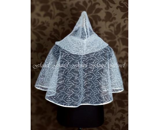 Венчальный платок с капюшоном белый