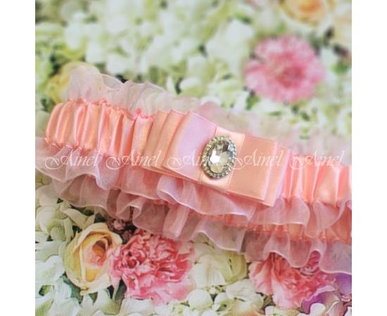 """Подвязка для невесты розовая """"Марсель"""""""