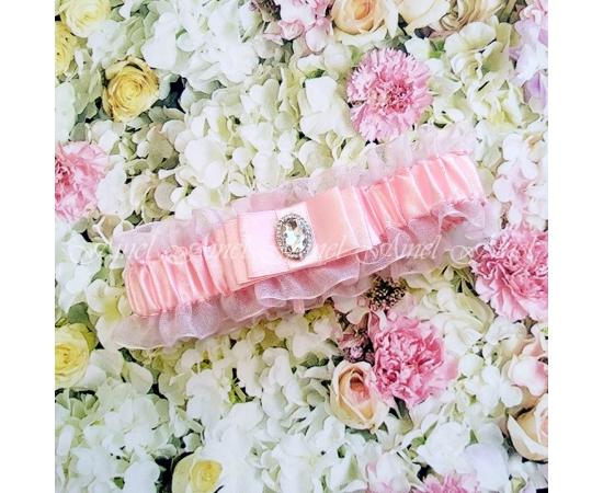 """Подвязка свадебная """"Марсель"""" розовая"""