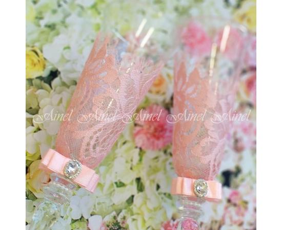 Бокалы свадебные Марсель розовые