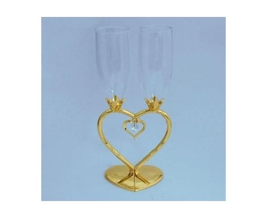 Бокалы свадебные сердце-половинки Золото малые